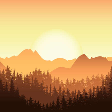 mountain sunset: Sunrise in the mountain. Vector landscape illustration. Fir or pine forest in the morning. Nature horizontal seamless background. Design for travel, tourism, environmental and ecology themes.