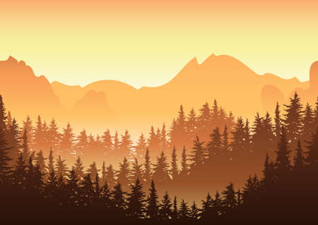 sunrise mountain: Vector illustration of sunrise in the mountain. Nature horizontal seamless background, fir or pine forest. Design for travel, tourism, environmental and ecology themes. Beautiful morning landscape.