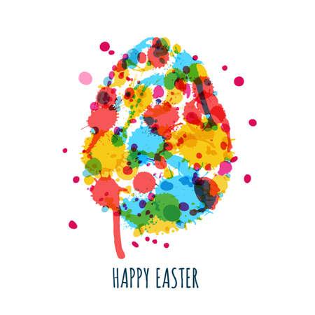 Tarjeta de felicitación de Pascua con huevo multicolor hecha de salpicaduras de acuarela, manchas y manchas blancas. Fondo abstracto de Pascua. Huevo pintado creativo de Pascua aislado en el fondo blanco. Ilustración de vector