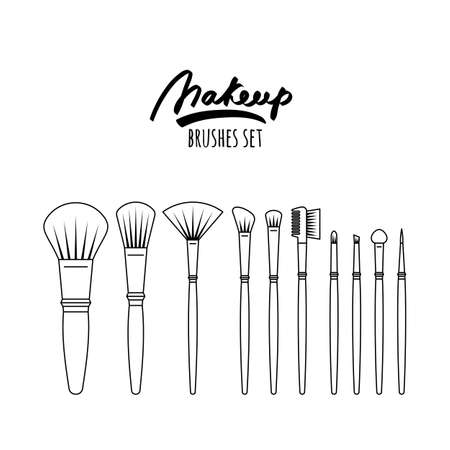 Makeup brushes kit, isolated on white background. Vector outline illustration. Beauty and skincare icons set.