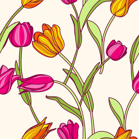 Vector seamless pattern with pink and yellow tulip flowers. Spring colorful floral background. Design concept for fabric design, textile print, wrapping paper or web backgrounds.