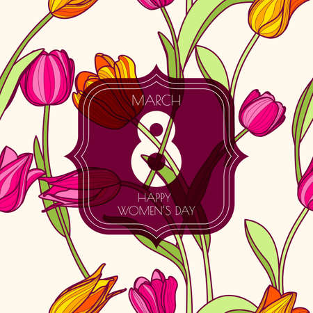 mar: 8 March greeting card, International Womens Day. Vector seamless pattern with pink and yellow tulip flowers. Colorful spring floral background. Illustration