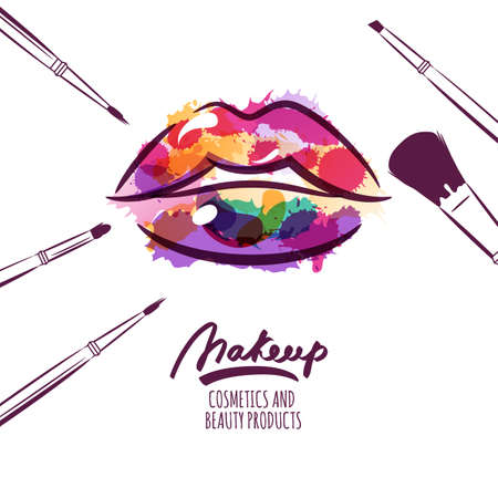 lipstick kiss: Vector watercolor hand drawn illustration of colorful womens lips and makeup brushes. Watercolor background. Concept for beauty salon, cosmetics label, cosmetology procedures, visage and makeup.