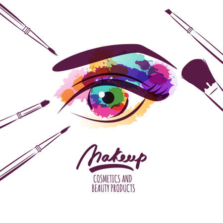 Vector watercolor hand drawn illustration of colorful womens eye and makeup brushes. Watercolor background. Concept for beauty salon, cosmetics label, cosmetology procedures, visage and makeup. Vectores