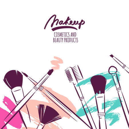 makeup fashion: Watercolor hand drawn illustration of makeup brushes on colorful grunge background. Abstract vector banner design. Concept for beauty salon, cosmetics label, cosmetology procedures, visage and makeup.