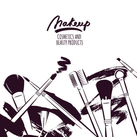 Watercolor hand drawn illustration of makeup brushes. Black and white grunge background. Abstract vector banner design. Concept for beauty salon, cosmetics label, visage and makeup. Vector Illustration