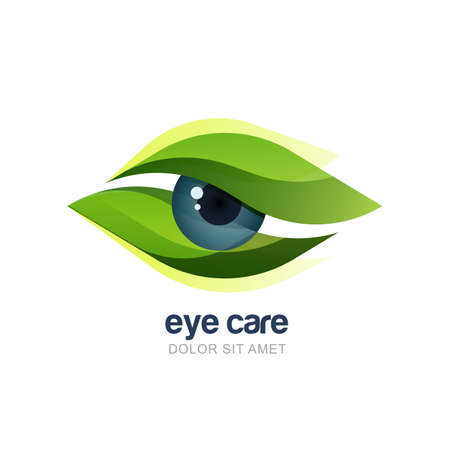 Vector illustration of abstract human eye in green leaves frame. Logo design template. Concept for optical, glasses shop, oculist, ophthalmology, makeup stylist, research. Natural organic eye care.