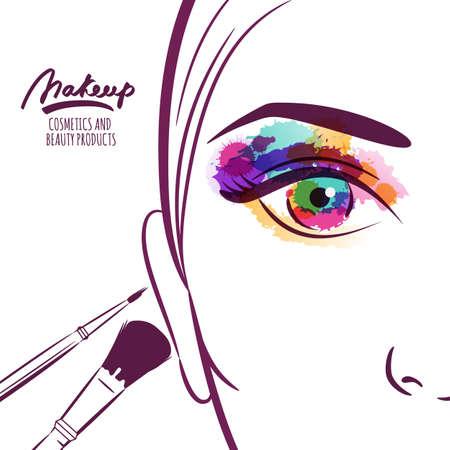 maquillaje de ojos: Ilustración del vector de la cara de mujer joven con coloridos cepillos de ojos y maquillaje. Acuarela abstracta de fondo. Concepto para el salón de belleza, cosméticos etiqueta, los procedimientos de la cosmetología, el rostro y el maquillaje.