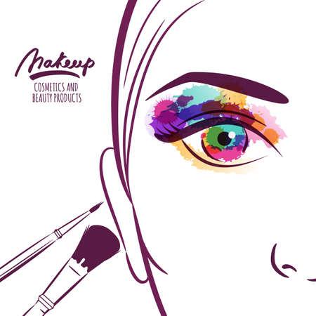 makeup fashion: Vector illustration of young woman face with colorful eye and makeup brushes. Watercolor abstract background. Concept for beauty salon, cosmetics label, cosmetology procedures, visage and makeup.