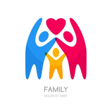la gente multicolor Resumen silueta. Ilustración de la familia feliz o niños. la insignia del vector plantilla de diseño. Concepto para la caridad, la red social, la asociación. Ilustración de vector