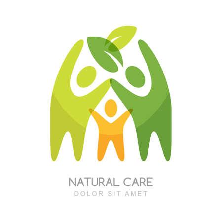 Abstrakte glückliche Menschen Silhouetten. Konzept für natürliche Gesundheit, Familie Wellness, Ökologie und Schutz der Natur.