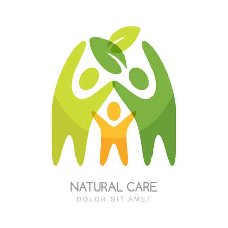 Abstract happy people silhouettes. Concept for natural health care, family wellness, ecology and protection nature.