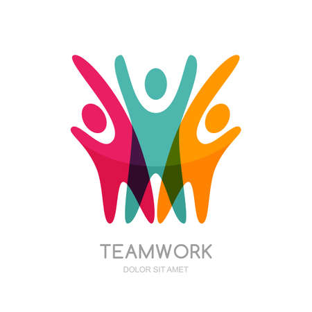 team cooperation: Abstract illustration of multicolor people silhouette. Vector logo design template. Concept for social network, partnership, teamwork, creativity, friendship, business cooperation, sport team. Illustration