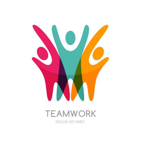Illustration abstraite de silhouette multicolore personnes. logo Vector modèle de conception. Concept pour le réseau social, partenariat, le travail d'équipe, la créativité, l'amitié, la coopération commerciale, équipe de sport. Banque d'images - 52176089