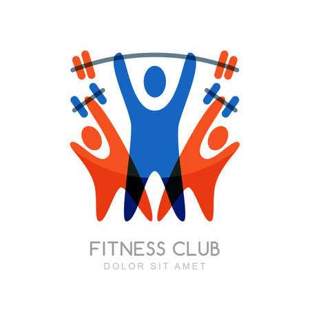 fitness: Vector logo design template for fitness or bodybuilding. Abstract illustration of colorful sport people with barbell and dumbbells. Creative concept for sport club, competitions and healthy lifestyle