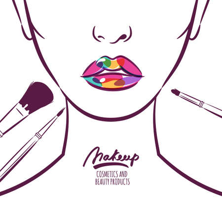 Vector illustration of young woman face with colorful lips and makeup brushes.  Abstract hand drawn background. Concept for beauty salon, cosmetics label, cosmetology procedures, visage and makeup.