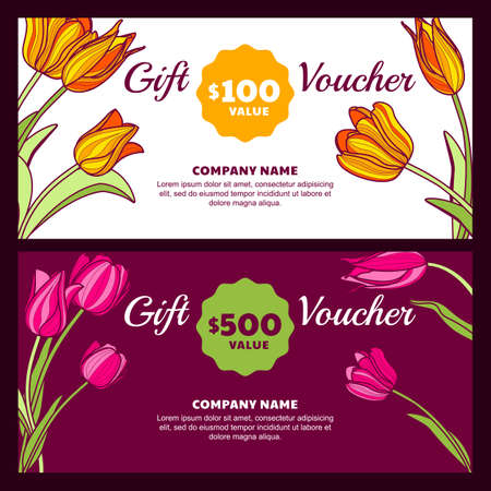 price tag: Vector floral gift voucher template. Colorful spring background with pink and yellow tulip flowers. Design concept for floral shop, beauty salon, boutique, flyer, banner, holiday greeting card. Illustration