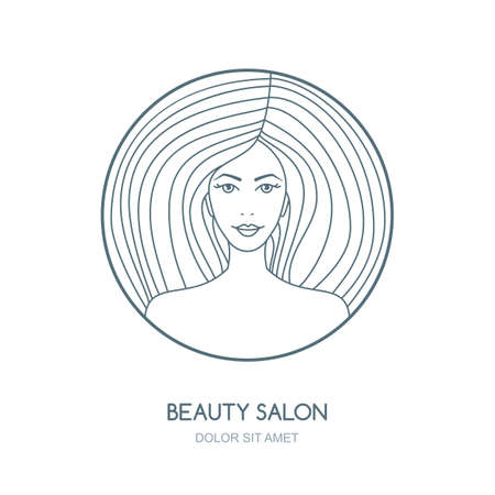 beauty woman face: Outline vector illustration of woman. Vector logo, badge, label design template. Womens face in circle shape. Concept for beauty salon, cosmetics product, cosmetology procedures, massage and spa.