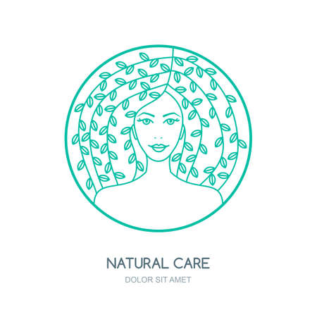 skincare: Outline vector illustration of woman with leaves in hair. Vector logo, badge, label design. Concept for beauty salon, natural and organic cosmetics product, cosmetology procedures, massage and spa. Illustration