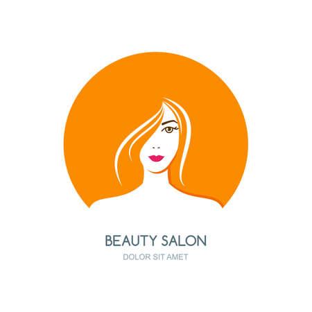 schönheit: Schöne Frau mit roten Haaren, Vektor-Illustration. Logo, Abzeichen oder Label-Design-Element. Frauen stehen in Kreisform. Konzept für Schönheitssalon, Kosmetik, Kosmetologie Verfahren, Massage und Spa.