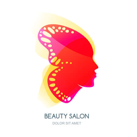 female pink: Beautiful woman face in tropical butterfly wings. Vector colorful illustration. Logo or label design element. Concept for beauty salon, cosmetics, cosmetology procedures, massage and spa.
