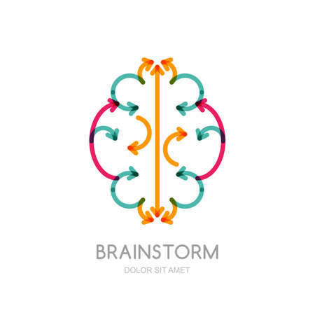 brainstorming: Abstract illustration of brain made from colorful arrows. Vector logo icon. Concept for business solutions, brainstorming, high technology, development, innovation, creativity, scientific themes. Illustration