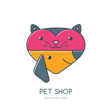 cat grooming: Vector illustration of cute muzzle of cat and dog in heart shape. icon or label design element. Trendy concept for pet shop, pets care and grooming, veterinary.