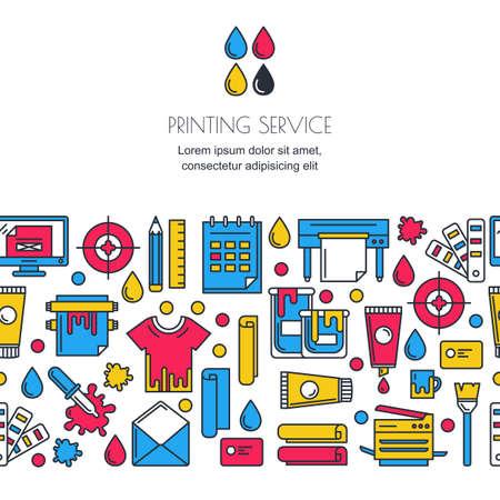 Wektor bez szwu poziomy tła z drukowania znaków w kolorach CMYK. Drukarka, ploter, farby i ikony papeterii. Koncepcja centrum kopiowania, drukowania, publikowania usługi projektowania, transparent. Ilustracje wektorowe