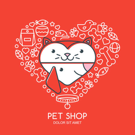 cat grooming: Outline illustration of cute cat and dog in heart shape. Goods for animals, vector icons set. Label design elements. Trendy concept for pet shop, pets care and grooming, veterinary.