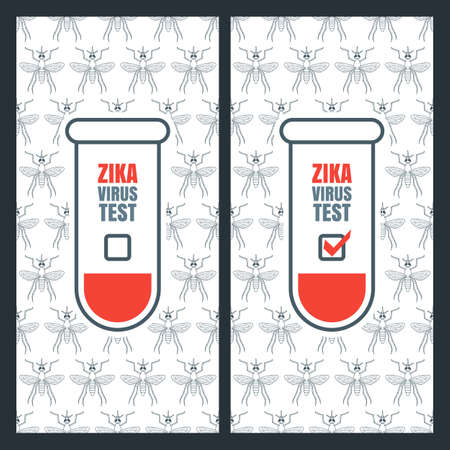 aedes: Vector design concept for zika virus positive and negative test. Abstract banner, brochure, label, poster background for zika virus outbreak theme. Seamless pattern with aedes mosquito. Illustration