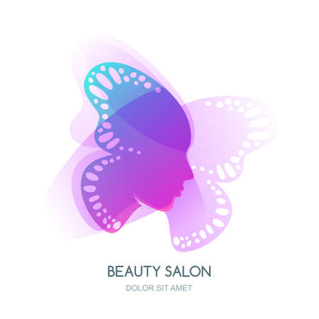 make up model: Womens face in butterfly wings. Vector or label design. Abstract background with woman silhouette. Concept for beauty salon, cosmetics, cosmetology procedures, massage and spa.