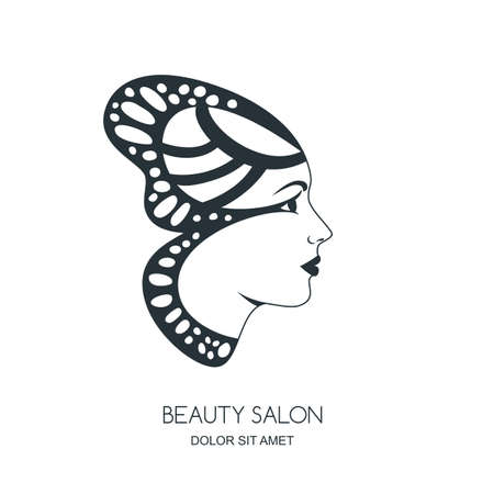 spa woman: Beautiful female face in butterfly wings. Vector or label design. Black and white illustration of woman silhouette in profile. Concept for beauty salon, cosmetics, spa, fashion print.