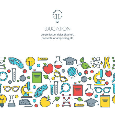 experiments: Vector seamless horizontal background with flat science, education and research tools. Online education, graduation, school and university concept. Banner design template.