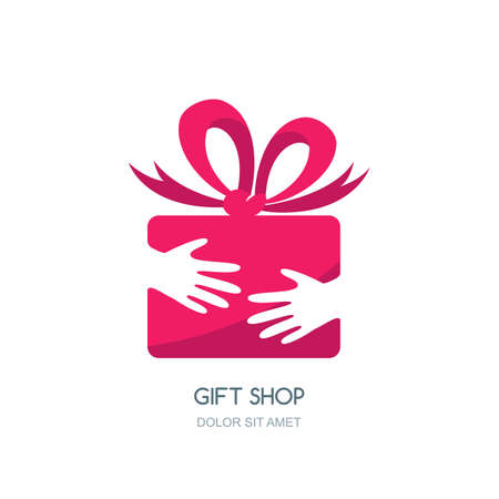 gift ribbon: design for holidays and gift shop. Hands holding pink gift box with ribbon. Negative space flat icon.