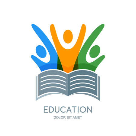 education icon: Multi color people silhouette and open book. design template. Abstract trendy illustration, concept for school, university, study, education, training. Illustration