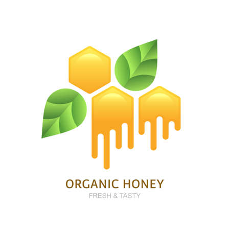 honeyed: Organic honey icon, icon, label design elements. Yellow honeycombs and green leaves. Natural and healthy food background. Illustration