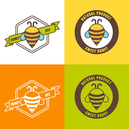 waypoint: Set of honey icon, label, icon design elements. Abstract bee outline illustration. Creative map way point symbol.