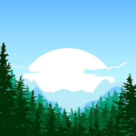 horizons: Sunrise in the mountain. summer or spring landscape. Nature background. Design for travel, tourism, environmental and ecology themes. Panorama of mountains, green pine and fir-tree forest.