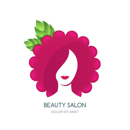 head massage: Female face silhouette on flower or raspberry background. Negative space icon design. Concept for beauty salon, cosmetics labels, stickers, massage and spa. Natural care and beauty. Illustration