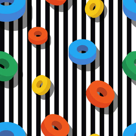 3d shape: Seamless pattern pattern with colorful rings on black and white stripes. geometric background. Flat design concept for fashion textile print, wrapping paper or web backgrounds