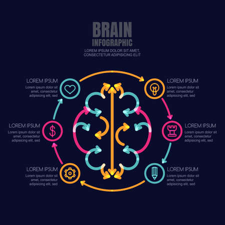 high technology: Business infographics vector template. Brain made from colorful arrows and outline icons set on black background. High technology, development and creativity concept. Abstract illustration. Illustration