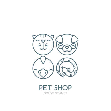 round face: Vector outline illustration of dog head, cat muzzle, bird and snake.