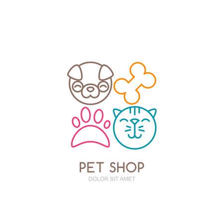Vector lijn kunst illustratie van de hond hoofd en kat snuit.