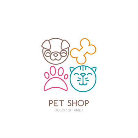 muzzle: Vector line art illustration of dog head and cat muzzle. Illustration