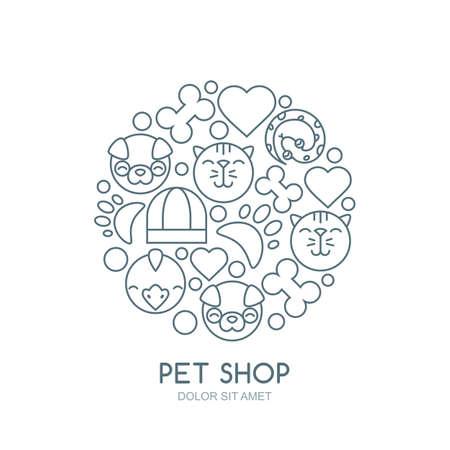 illustration linéaire du museau mignon de chat, chien, oiseau, serpent. Les marchandises pour les animaux, vecteur icônes définies. concept abstrait pour animalerie, animaux de compagnie de soins et de toilettage, vétérinaire. Vecteurs