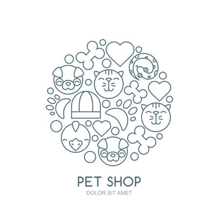shop for animals: Linear illustration of cute muzzle of cat, dog, bird, snake. Goods for animals, vector icons set. Abstract design concept for pet shop, pets care and grooming, veterinary.