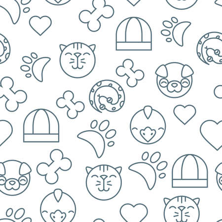 shop for animals: Vector seamless pattern with outline cat, bird, snake and dog icons. Goods for animals. Design for pet shop or veterinary. Black and white simple background for textile print, wrapping paper or web. Illustration