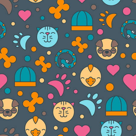shop for animals: Vector seamless pattern with cat, bird, snake and dog icons. Goods for animals. Design for pet shop or veterinary. Colorful flat background for textile print, wrapping paper or web.