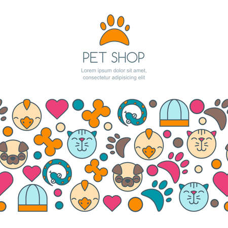 cat grooming: Vector seamless horizontal background with flat icons of cat, bird, snake and dog. Banner or flyer design template with copyspace. Trendy concept for pet shop, pets care and grooming, veterinary. Illustration