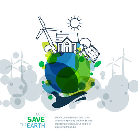 Vector illustration of hand holding earth with wind turbine, house, solar battery, bicycle and trees. Background for save earth day. Environmental, ecology, nature protection and pollution concept.